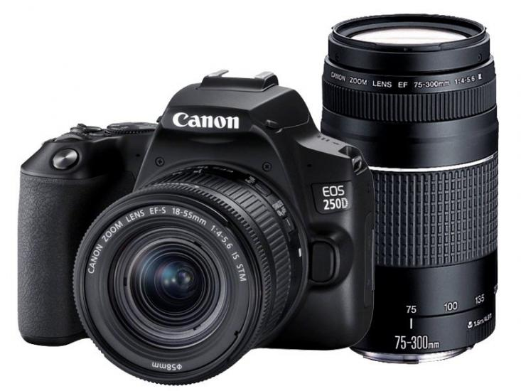 Canon EOS 250D 18-55mm III + 75-300mm DC Lens